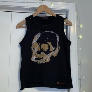 Distressed Parasuco Skull Tank Top